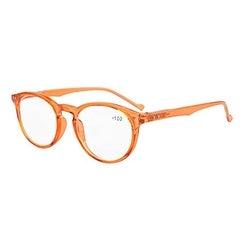 Eyekepper Oval Round Spring Hinges Reading Glasses Orange Frame +2.0