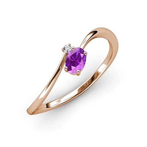 TriJewels Amethyst Diamond 1/2 ctw Women Bypass Promise Ring 14K Gold