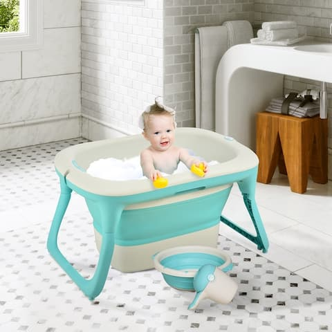 Qaba 4-in-1 Folding Baby Bathtub Washing Set with Safe Sucker Seat, Non-Slip Surfaces, and an Easy Storable Design - Green