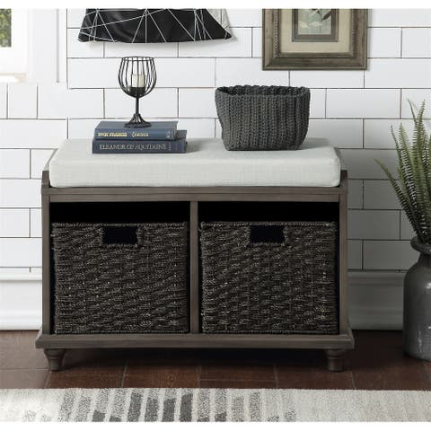 Merax Wood Storage Bench with 2 Woven Baskets