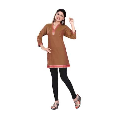 Brown 3/4 sleeve Indian Cotton Kurti/Tunic with Golden neckline