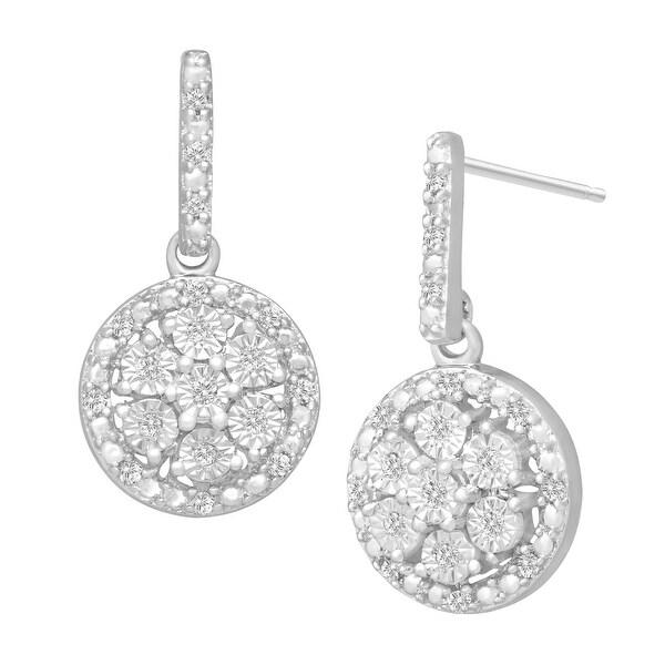 1/6 ct Diamond Drop Earrings in Sterling Silver