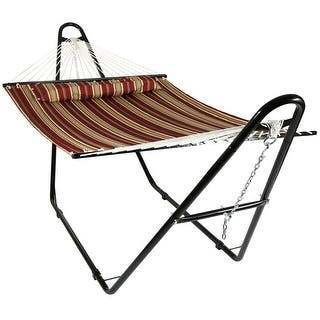 Sunnydaze Quilted Double Fabric 2-Person Hammock with Multi-Use Universal Stand (Option: Red)|https://ak1.ostkcdn.com/images/products/is/images/direct/327f5db9ccfb0281dbd32c9c79fc8d90d51102fb/Sunnydaze-Quilted-Double-Fabric-2-Person-Hammock-with-Multi-Use-Universal-Stand.jpg?impolicy=medium