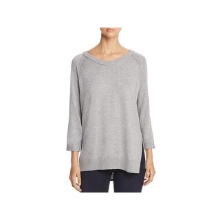H. One Womens Pullover Sweater Open Stitch Detail Three-Quarter Sleeves