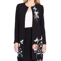 Tahari by ASL Black Women's Size 4 Floral Embroidered Crepe Jacket