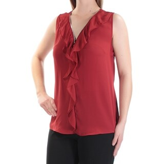 Womens Red Sleeveless Zip Neck Wear To Work Top Size M