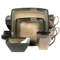 Gibson 92131.16 16 Piece Tequesta Square Dinnerware Set, Taupe