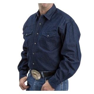 Roper Western Shirt Mens L/S Tall Denim Navy Denim 06-001-0720-0021 NA