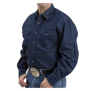Roper Western Shirt Mens L/S Tall Denim Navy Denim