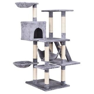 Gymax 57'' Cat Tree Kitten Pet Play House Condo Scratching Posts w Ladder Hammock - gray