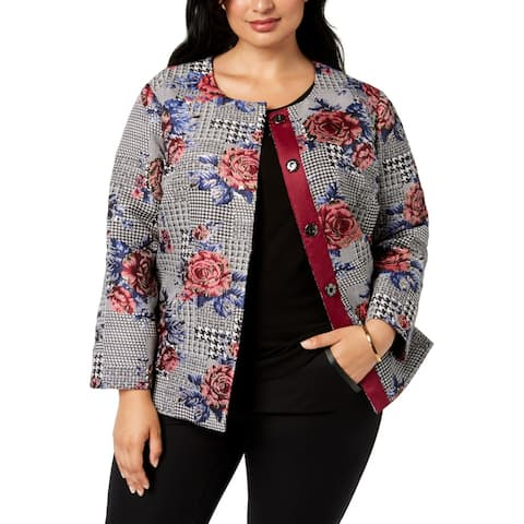 Alfani Womens Jacket Red Gray Size 1X Plus Floral Print Collarless