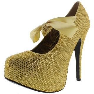 Bordello Womens Teeze Rhinestone Tie Front Platform Heels