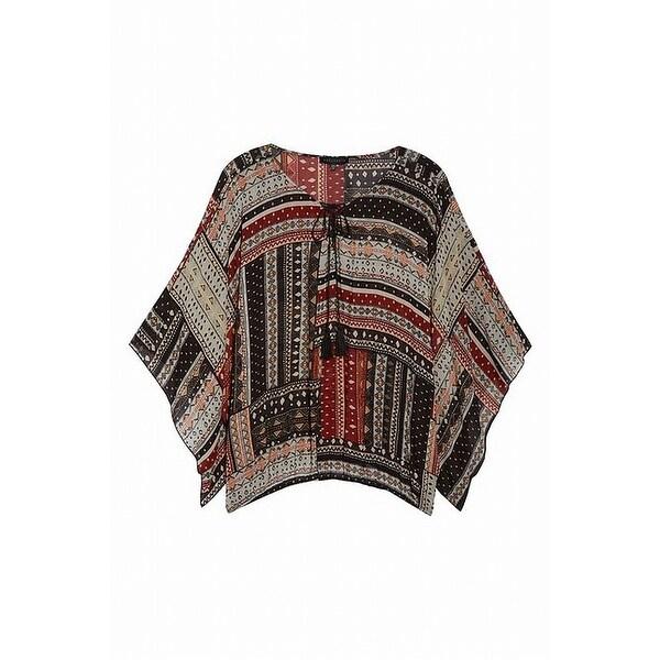 Sanctuary Black Womens Size 1X Plus Tribal-Print Lace-Up Blouse