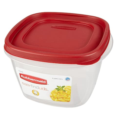 Rubbermaid Easy Find Lid Food Storage Container, 7-Cup, Red