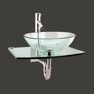 Unique Tempered Glass Wall Mount Vessel Sink Clear Durable | Renovator's Supply
