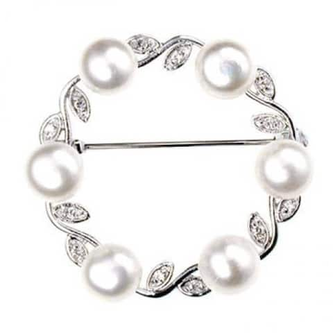 White Freshwater Cultured Pearl Circle Leaf Scarf Brooch Pin Sterling