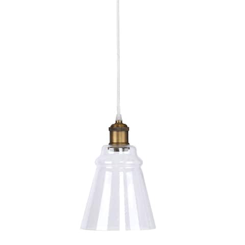Modern Pendant Lamp ft. Cone-Shaped Clear Seeded Glass Shade & Metal Accents