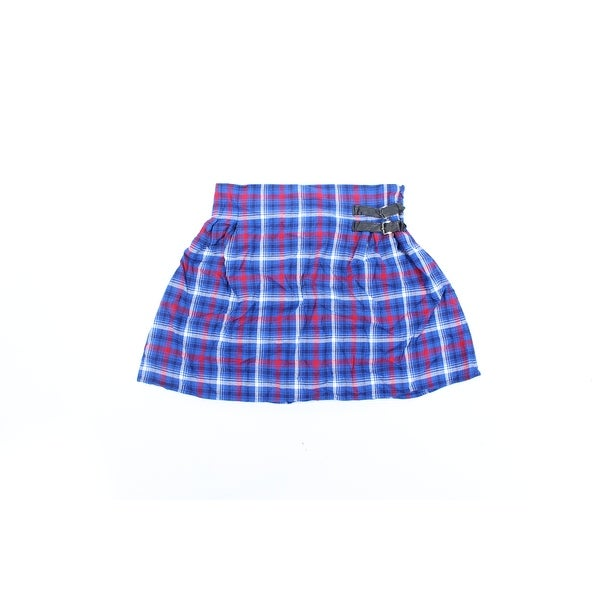 Shop Womens Blue Red Plaid Above The Knee A Line Skirt Juniors Size
