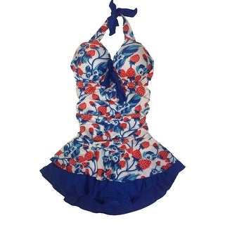 Haishuman Juniors Underwire Ruched Swimsuit with Halter Neck Medium - Blue/Red/White