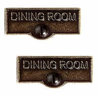 2 Switch Plate Tags DINING ROOM Name Signs Labels Cast Brass | Renovator's Supply