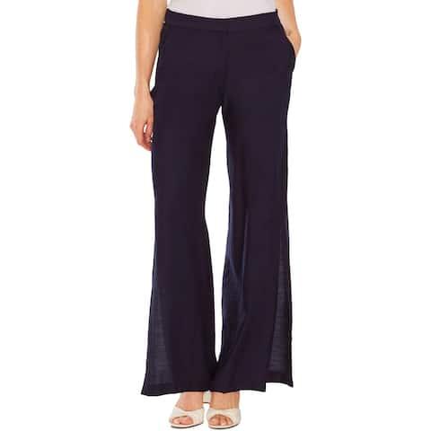 Vince Camuto Womens Wide Leg Pants Side-Slit Textured