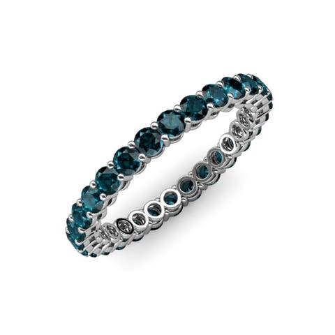 TriJewels London Blue Topaz Gallery Shared Prong Eternity Ring Gold