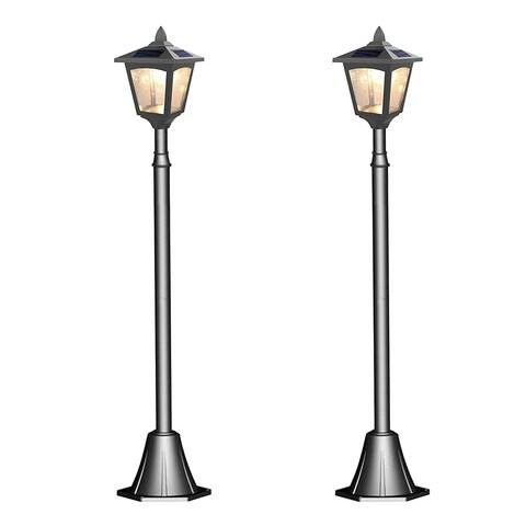 "Kanstar Pack of 2 Solar Powered 42"" Outdoor Vintage Mini Street Lamp Post Light (Adjustable)"