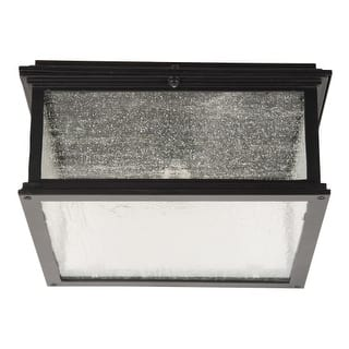 """Craftmade Z3227-11 Gentry Single Light 13-1/8"""" Wide Outdoor Flush Mount Square Ceiling Fixture with Clear Seeded Glass