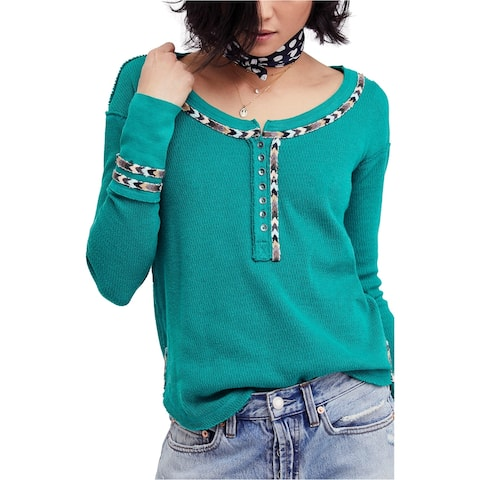 Free People Womens Embroidered Thermal Henley Shirt, green, X-Small
