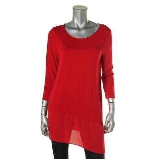 Vince Camuto Womens Tunic Top Asymmetric 3/4 Sleeves