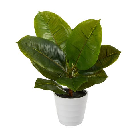 """11"""" Rubber Leaf Artificial Plant in White Planter (Real Touch) - 3.25"""""""