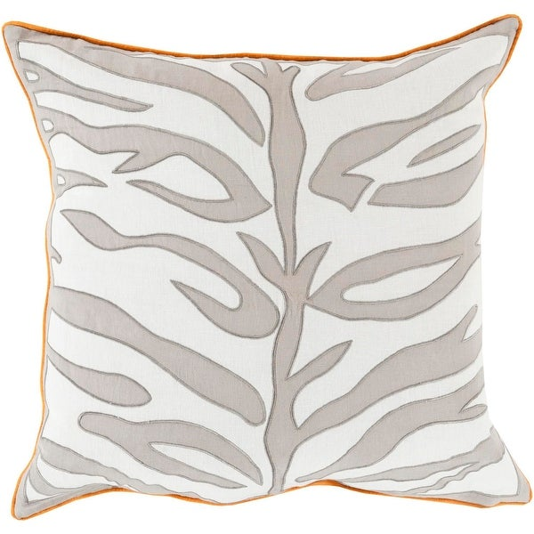 "18"" Ash Gray and Lace White Square Throw Pillow with Orange Trim - Down Filler"