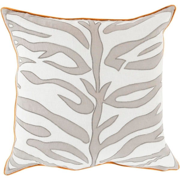 "22"" Ash Gray and Lace White Square Throw Pillow with Orange Trim - Down Filler"