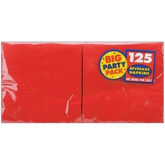 "Big Party Pack Beverage Napkins 5""X5"" 125/Pkg-Apple Red"