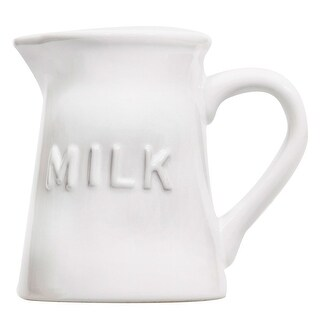 Vintage Ceramic Coffee Creamer- Milk 9 Oz. Pourer Pitcher / Liquid Condiment Dispenser (White)