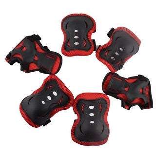 Girl Sport Adjustable Elbow Knee Palm Support Protetor Pad Red Black 6 in 1
