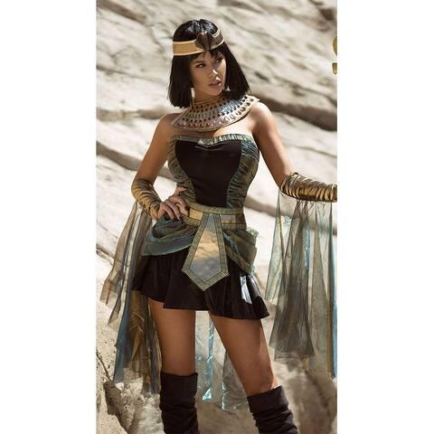Egyptian Goddess Costume, Egyptian Cleopatra Costume - Black/Teal