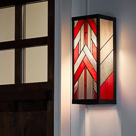 """River of Goods Red Stained Glass and Black Satin Rectangular 1-Light Outdoor Wall Sconce - 6.25"""" x 5.5"""" x 16.25"""""""