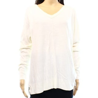Sweet Romeo NEW White Ivory Women's Size Medium M V-Neck Ribbed Sweater