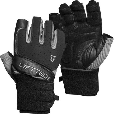 Lift Tech Fitness Klutch Wrist Wrap Lifting Gloves - Black/Silver