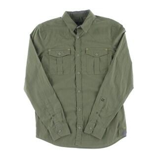 Buffalo David Bitton Mens Button-Down Shirt Woven Military - S