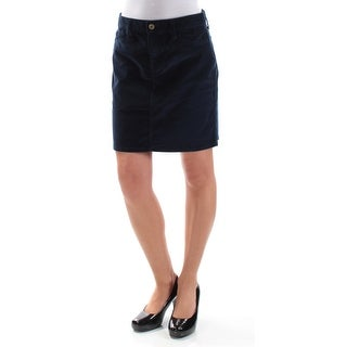 TOMMY HILFIGER Womens Navy Corduroy Mini Pencil Skirt Size: 2XS