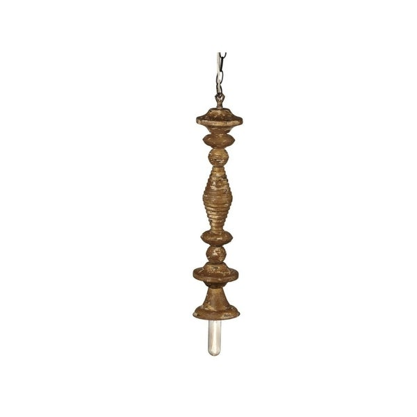 Set of 2 Brown Distressed Traditional Designed Finial Pendant 21""