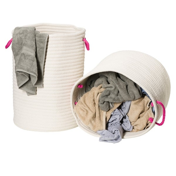 Marissa Woven Hamper Basket SET-2 for use anywhere 17Dx22H/19Dx15H. Opens flyout.