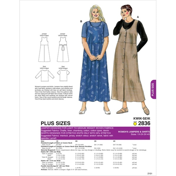 Jumpers & Shirts-1X-2X-3X-4X -*SEWING PATTERN*