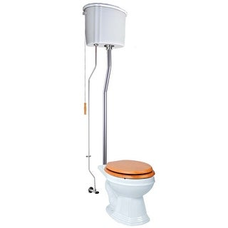 Renovator's Supply High Tank Toilets White Ceramic Tank Round High Tank Toilet