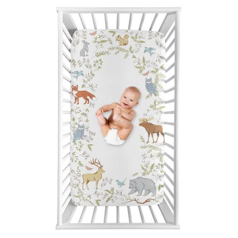 Woodland Animal Toile Collection Boy or Girl Photo Op Fitted Crib Sheet - Grey, Green, and Brown Bear Deer Fox