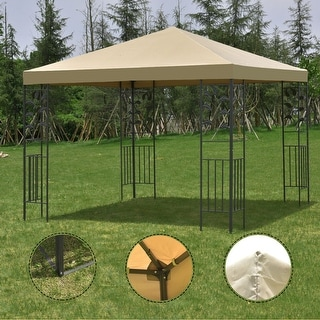 Costway Outdoor 10'x10' Square Gazebo Canopy Tent Steel Frame Shelter Awning Brown