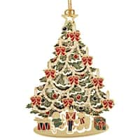 """3.5"""" Red, White and Green 24K Gold Finished Classic Christmas Tree Ornament"""