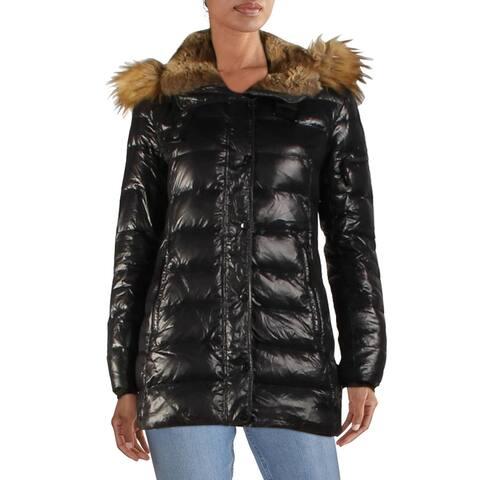 Aqua Womens Puffer Coat Winter Parka - Jet - XS